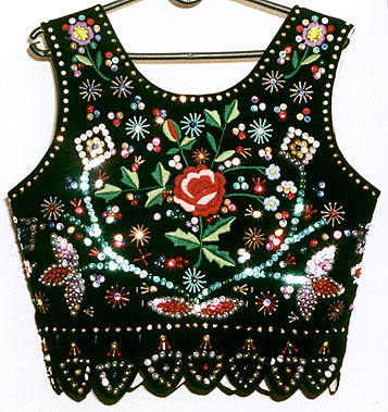 vest from the area of Morawica and Olszanica embroidered with threads, sequins and beads - back